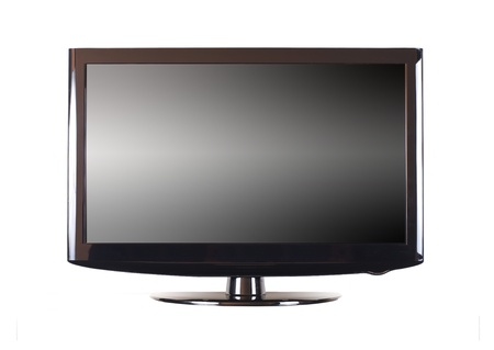 Isolated modern panel television on white background photo