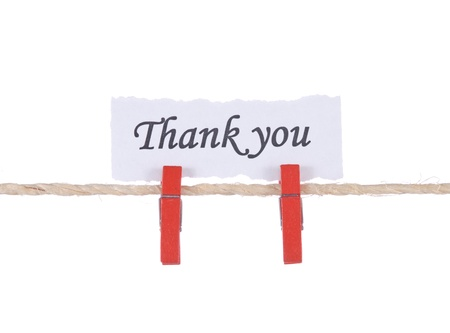 Thank you, paper words card hang by wooden peg  photo