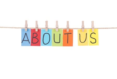 about us: About us, paper words card hang by wooden peg  Stock Photo
