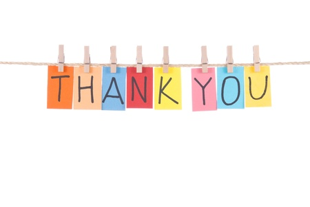 note card: Thank you, paper words card hang by wooden peg  Stock Photo