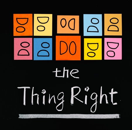 Do the thing right, paper cards and words on blackboard. Stock Photo - 9423597