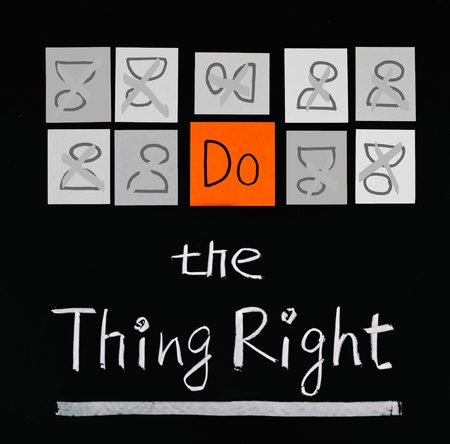 Do the thing right, paper cards and words on blackboard.  Stock Photo - 9809236