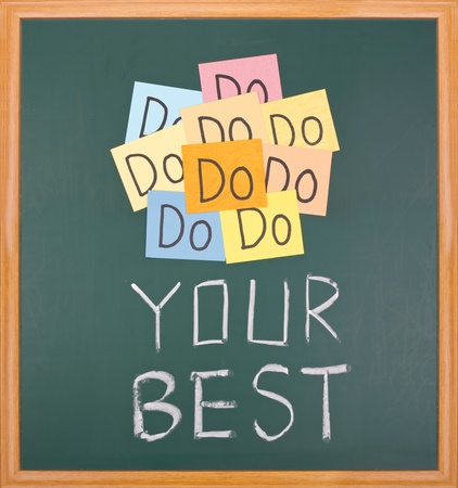 Do your best, paper cards and words on blackboard.  Stock Photo - 9809264
