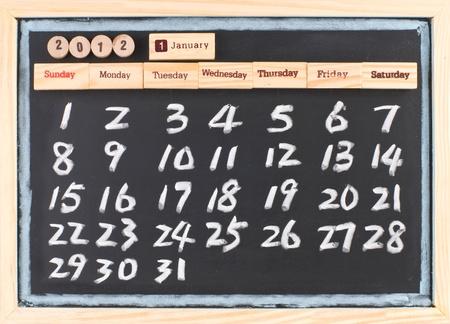 hand drawing 2012 January calendar, monthly calendar of 2012. photo
