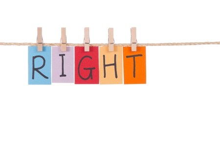 peg: Right, Wooden peg  and colorful words series on rope