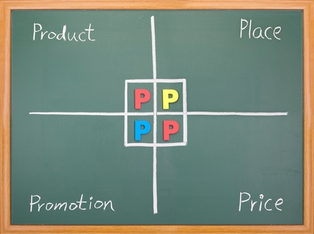 4p: Marketing 4P, Product, Place, Promotion, Price, hand  writing words on blackboard Stock Photo