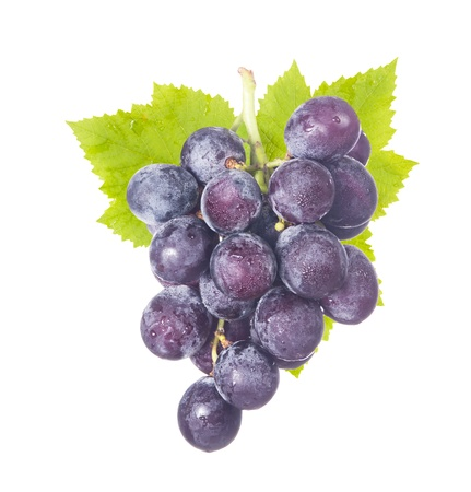 bunch of grapes: Isolated fresh grapes with drops and green leaf