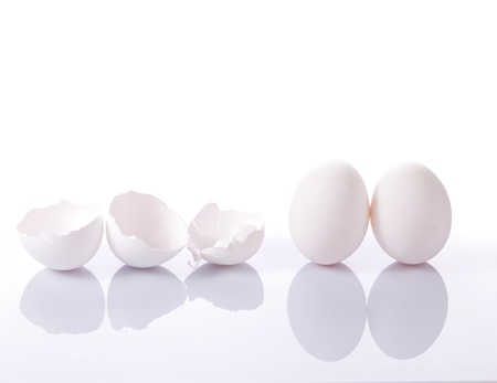 Group of eggshells and eggs with reflection on white background photo