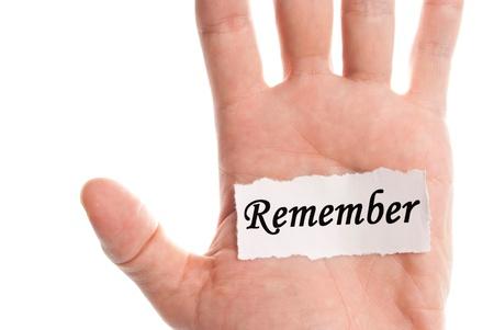 recordar: Recordar la palabra tipo sobre el papel por lado