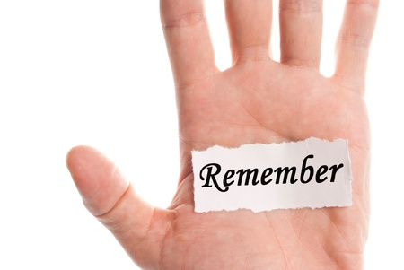 Remember word type on paper on hand Stock Photo - 10358534