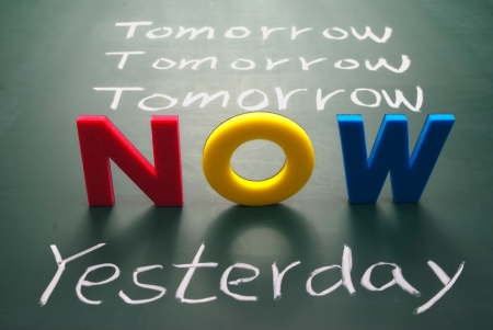today: Now, yesterday, and tomorrow words on blackboard, Time concept.  Stock Photo