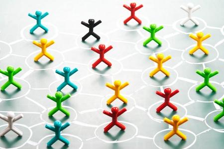 net meeting: Social network, people in drawing net on blackboard. Stock Photo