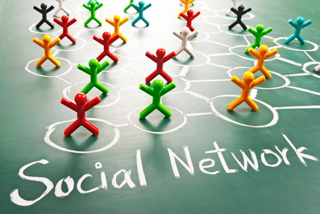 Social network, people in drawing net on blackboard. Stock Photo - 10769745