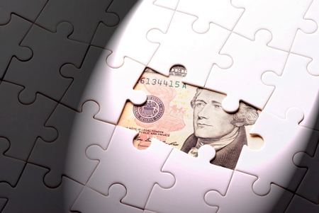 banking problems: Finance concept. Find out wealth from the puzzle game.