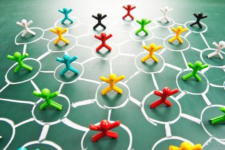 Social network, people in drawing net on blackboard. Stock Photo