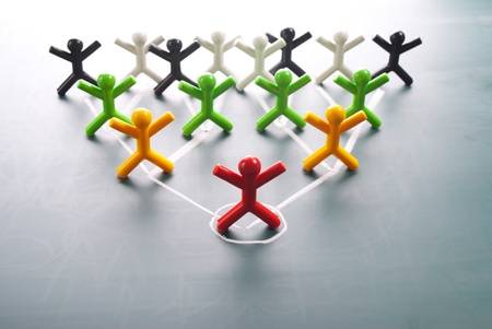 corporate hierarchy: Organizational corporate, hierarchy chart of a company of symbol people.  Stock Photo