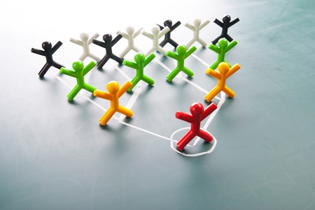 human figures: Organizational corporate, hierarchy chart of a company of symbol people.  Stock Photo
