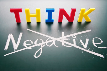 POSITIVE NEGATIVE: Do not think negative, colorful words  on blackboard