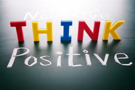 pozitivní: Myslete pozitivně, ne negativní, barevné slova na tabuli