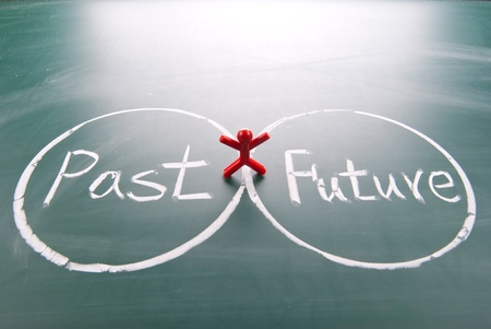 One man stands between past and future. photo