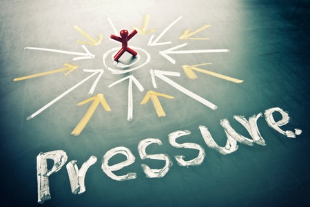 emotional pain: Pressure word and many arrow head toward the man.