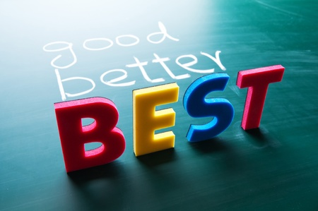 better business: Good, better and best, colorful words on blackboard  Stock Photo