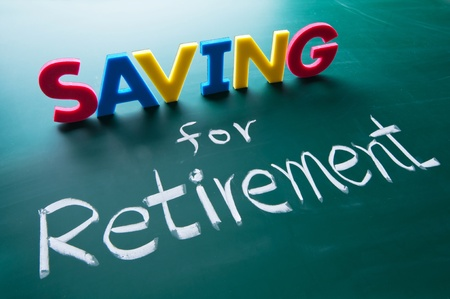 savings goals: Saving for retirement, colorful words on blackboard