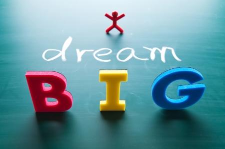sogno: Sogno grandi parole sulla lavagna con alfabeti colorati.