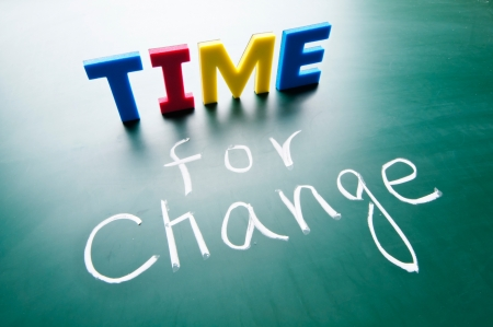change concept: Time for change, colorful words on blackboard.