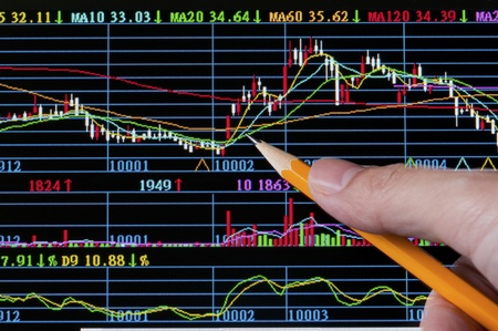 Analysis colorful stock chart on monitor. finance concept.  photo