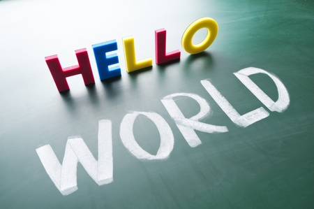 Hello world! Colorful words on the blackboard. Stock Photo - 11885494
