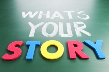 What is your story? Colorful words on blackboard. Stock Photo - 11885495