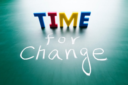time change: Time for change, colorful words on blackboard.