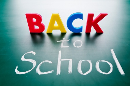 Back to school, colorful words on blackboard. Stock Photo - 11977130
