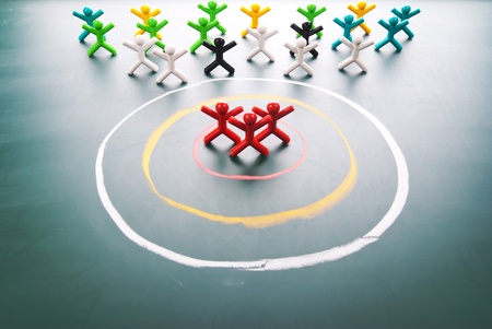 target market: Target your customers. people in the center of circle.