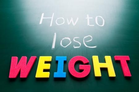 weight loss plan: Come perdere peso, le parole colorate sulla lavagna.