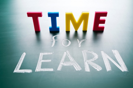 Time for learn, colorful words on blackboard. Stock Photo - 12021471