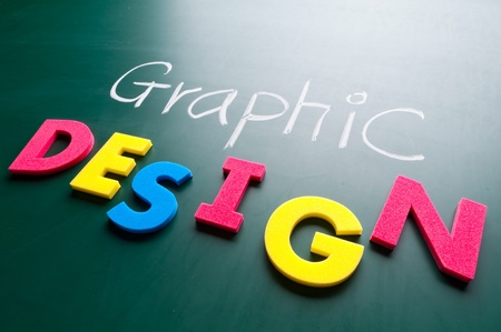 digital printing: Graphic design concept, colorful words on blackboard.
