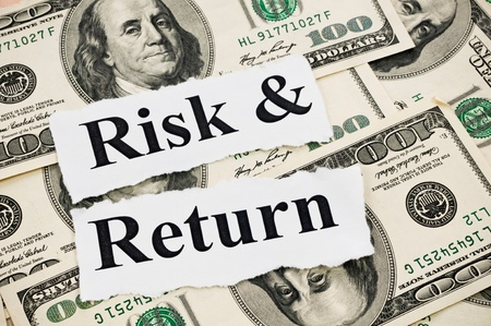 Risk and return words on hundreds US notes background photo