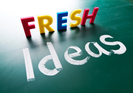 Fresh ideas, concept words on blackboard Stock Photo - 12614994