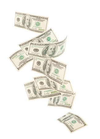 Floating American hundred notes isolated on white background Stock Photo