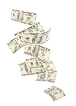 cash money: Flotantes estadounidenses cientos de notas aisladas sobre fondo blanco