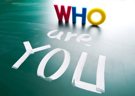 Who are you, concept words draw on blackboard  Stock Photo - 12615116