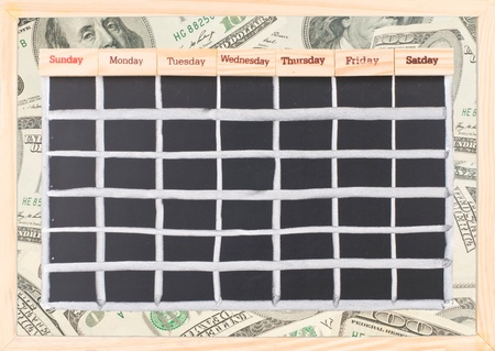 Blank money schedule, Monthly calendar with notes and week words print on wood photo