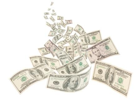 La rivière d'argent, flottantes américaines centaines de notes isolées sur fond blanc Banque d'images