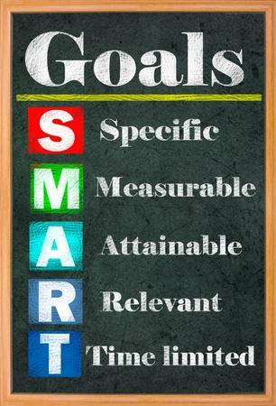 gestion del tiempo: Establecer la meta de SMART letras de colores en la pizarra grungy Foto de archivo