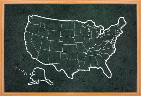 map of the united states: America map draw on grunge blackboard with wooden frame Stock Photo