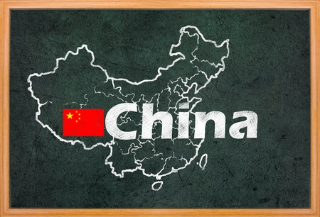 China map and flag draw on grunge blackboard photo