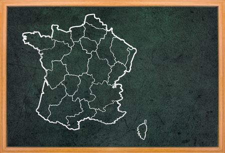 France map draw on retro blackboard with wooden frame photo