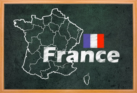 France map and flag draw on retro blackboard photo